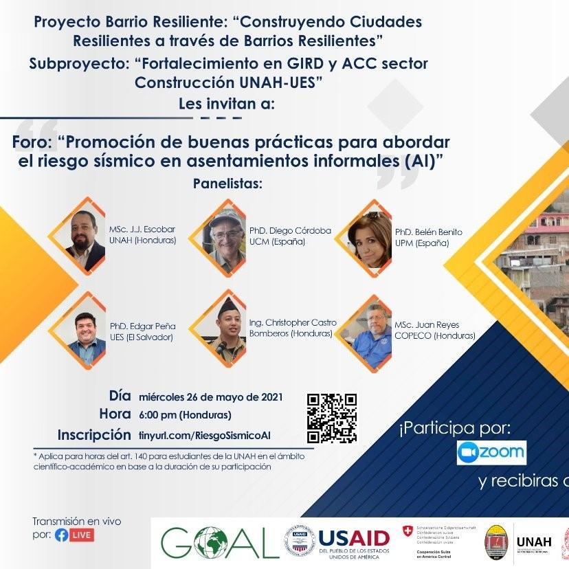 """Participación en las """"Jornadas para la promoción de buenas prácticas para abordar el riesgo sísmico en asentamientos informales"""""""